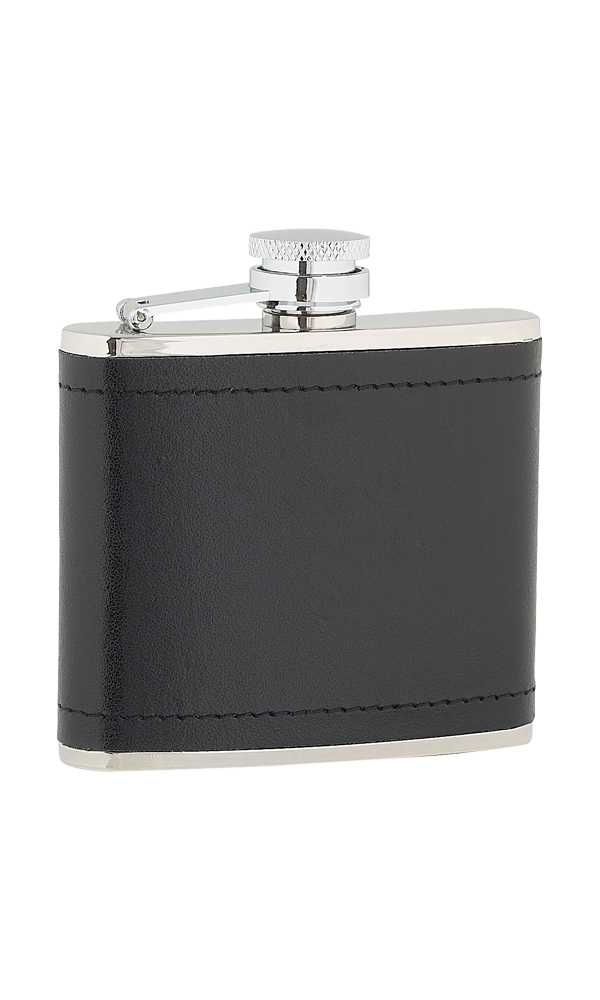 4oz Black Leather Stainless Steel Flask