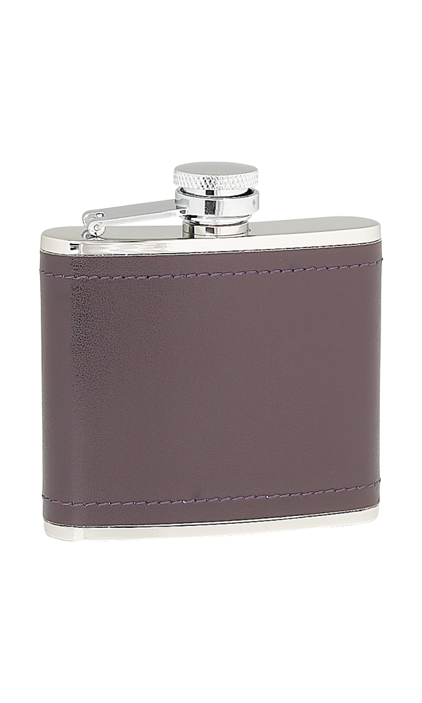 4oz Burgandy Leather Stainless Steel Flask