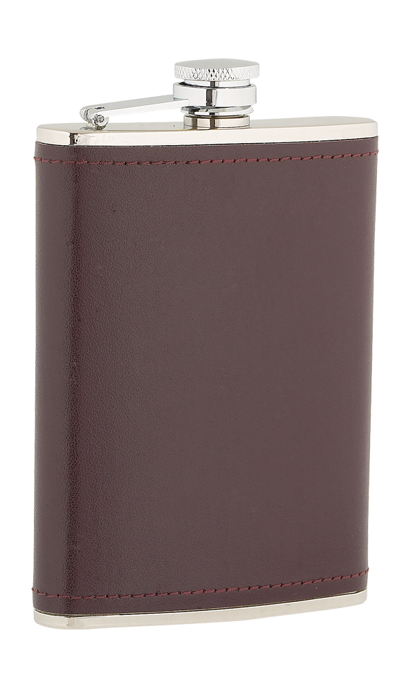 8oz Burgandy Leather Stainless Steel Flask