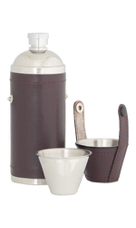 8oz Sportsman Burgundy Leather Stainless Steel Flask with 2 cups