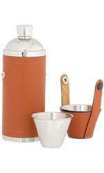 8oz Sportsman Tan Leather Stainless Steel Flask with 2 cups