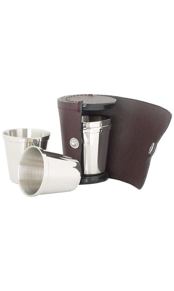 Set of 4 Small Cups In Burgundy Leather Case
