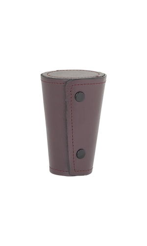 Set of 4 Large Cups In Burgundy Leather Case