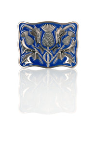 Antique and Blue Thistle Design Kilt Belt Buckle