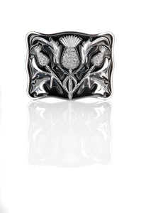 Chrome and Black Thistle Design Kilt Belt Buckle
