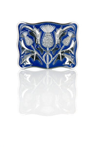Chrome and Blue Thistle Design Kilt Belt Buckle