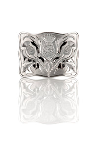 Chrome Thistle Design Kilt Belt Buckle