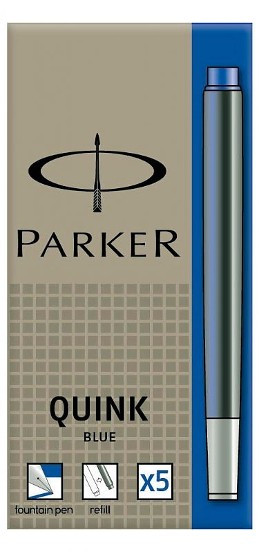 Parker Washable Quink Blue 5 Pack Fountain Pen Cartridge Refills