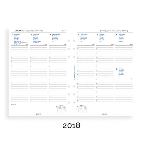 Filofax Week on Two Pages with Appointments 5 Languages 2018 A5 Size Calendar Refill
