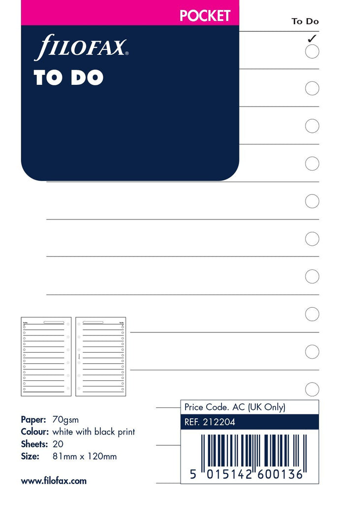 Filofax - Papers To Do Lists - Pocket Size