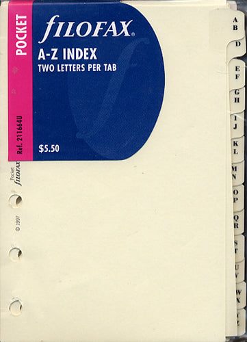 Filofax - Accessories A-Z Index - Two Letter - Pocket Size