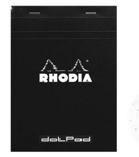 RHODIA DOT.Pad Rhodia Black 80sh stapled 80g 8-1-4x12-1-2 | matrice points 5mm