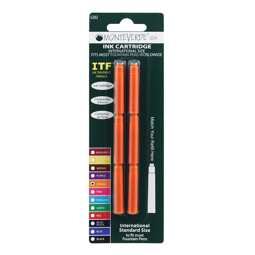 Monteverde Ink Cartridge Refills - International Size - Orange 6-pack