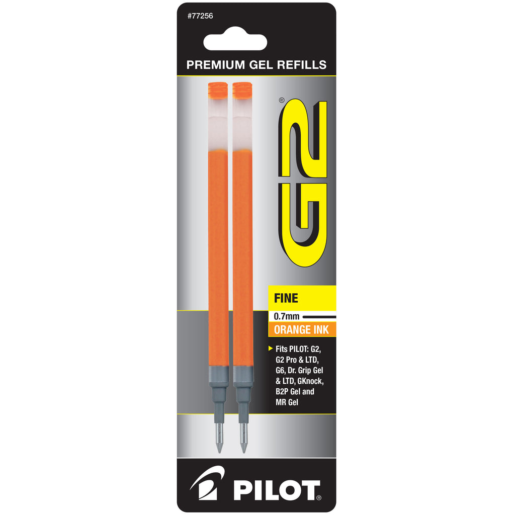 Pilot G2 Refills Orange Gel Ink Fine Point 0.7mm  2 Pack