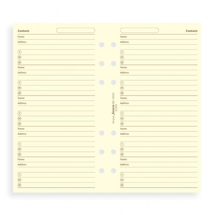 Filofax - Paper Refills - Pocket - Name, Address, Email, Telephone Number - Cream