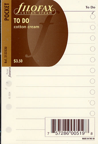 Filofax Papers To Do Lists - Cotton Cream  Pocket Size