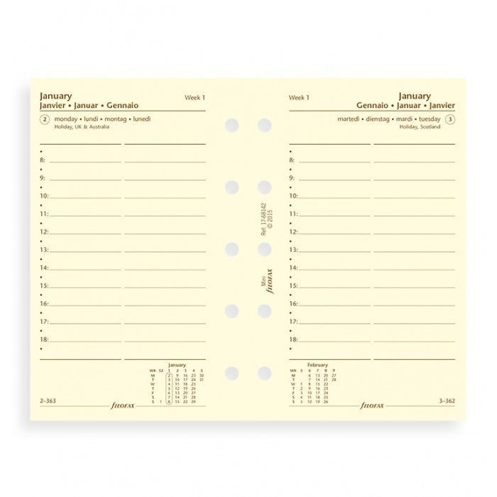 Filofax - Paper Refills - Mini - Day Per Page w Appointments - Cream - 4 Languages 2018