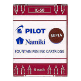 Pilot Namiki Fountain Pen Ink Cartridge - Sepia 6pk Refill