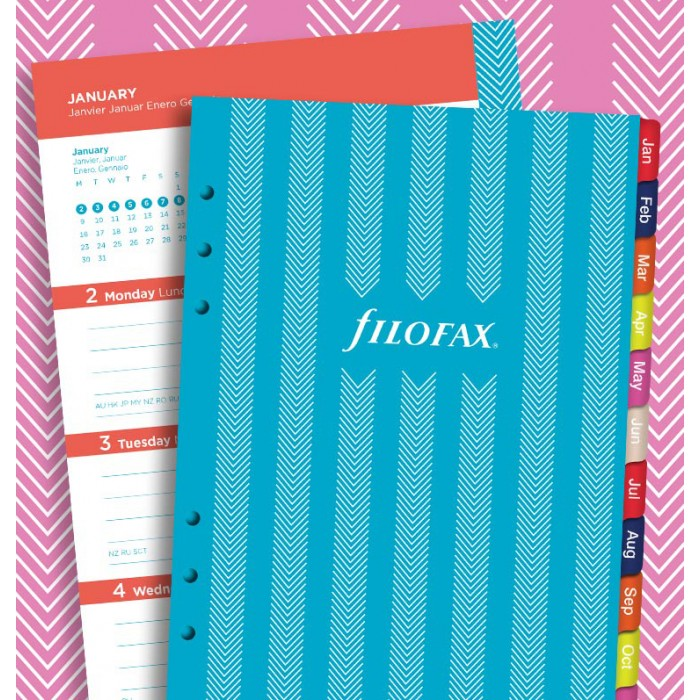 Filofax Week to View Illustrated Stripes 5 Languages 2018 A5 Size Calendar Refill