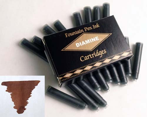 Diamine Refills Saddle Brown Pack of 18  Fountain Pen Cartridge