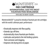 Monteverde Ink Cartridge Refills - International Size - Black 6-pack