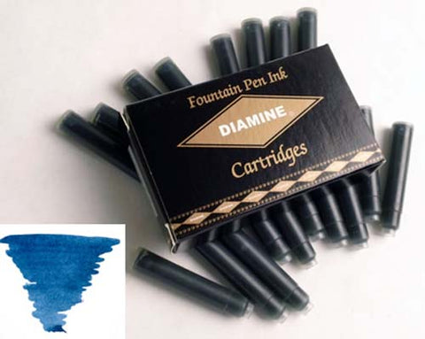 Diamine Refills Prussian Blue Pack of 18  Fountain Pen Cartridge