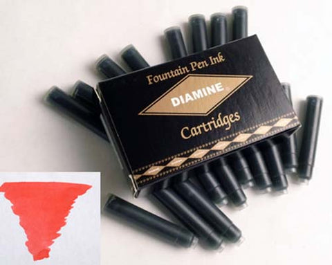 Diamine Refills Passion Red Pack of 18  Fountain Pen Cartridge