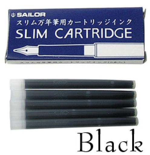 Sailor Refills Black 5-Pack Slim for Chalana  Fountain Pen Cartridge