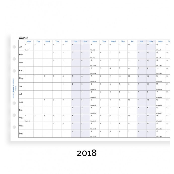 Filofax - Paper Refill - Personal - Year Planner Horizontal - English 2018