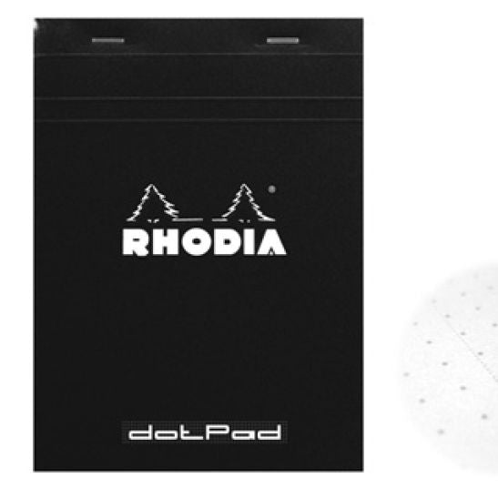 RHODIA DOT.Pad Rhodia Black 80sh stapled 80g 3-1-4x4-3-4 | matrice points 5mm