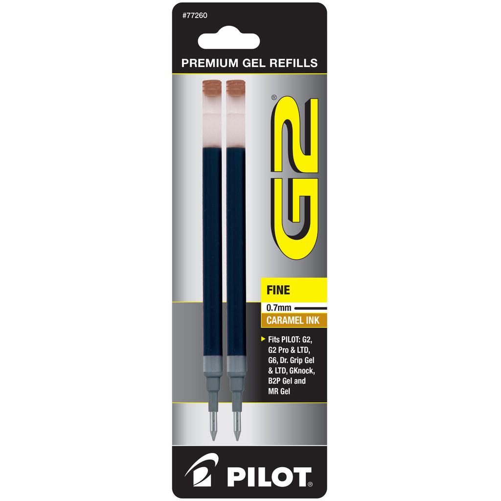 Pilot G2 Refills Caramel Gel Ink Fine Point 0.7mm 2 Pack