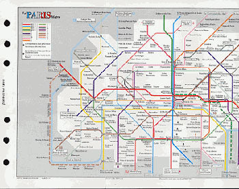 Filofax Papers Paris Metro & Rail Map  Personal Size