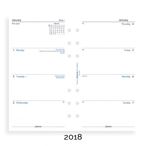 Filofax Week to View English 2018 Personal/Compact Size Calendar Refill