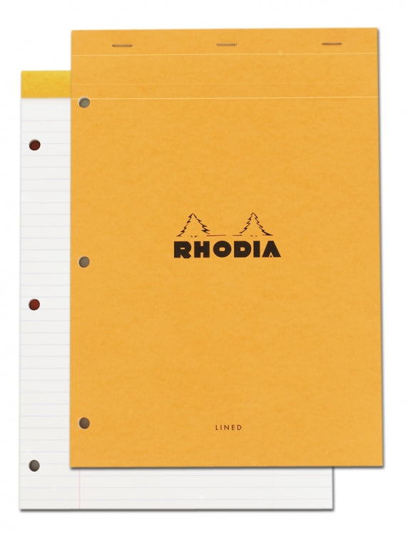 Rhodia Staplebound - Notepad - Orange - Lined with Margin - 3 holes - 8.25 x 11.75