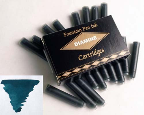 Diamine Refills Teal Pack of 18  Fountain Pen Cartridge