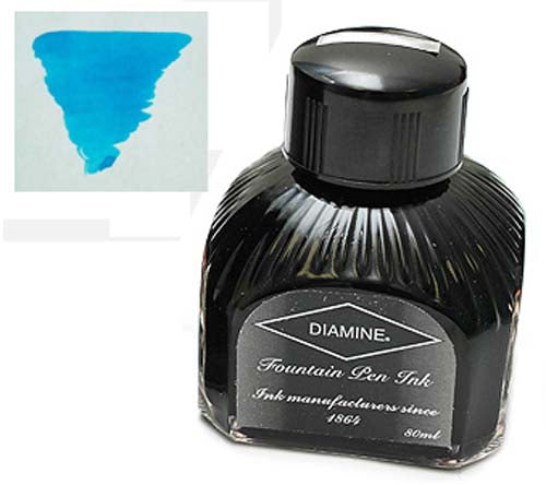 Diamine Refills Aqua Blue  Bottled Ink 80mL