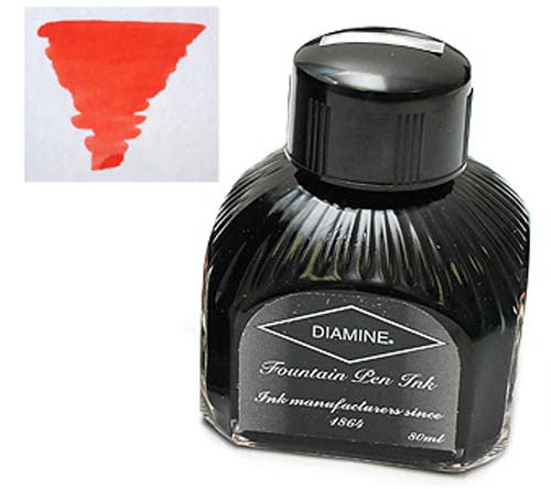 Diamine Refills Brilliant Red  Bottled Ink 80mL