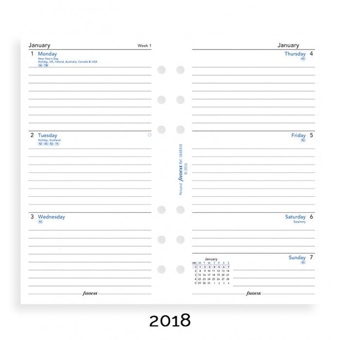 Filofax - Paper Refills - Personal - Week on Two Pages - Lined - English 2018