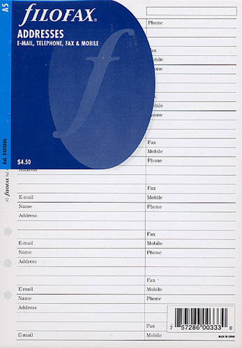 Filofax - Papers Name - Address - E-mail - Phone - Fax - Mobile  A5