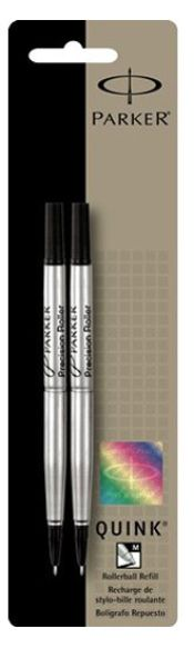 Parker Refills Black 2 Pack Medium Point Rollerball Pen