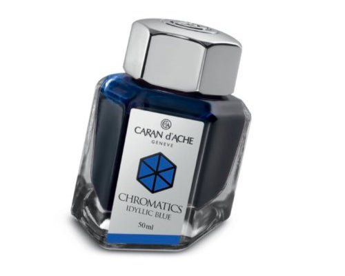 Caran D'ache - Fountain Pen Refills - Chromatics Bottled Ink - Idyllic Blue