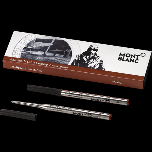 Montblanc Writers Edition Ballpoint Refill Antoine de St. Exupery Medium Point 2 Pack