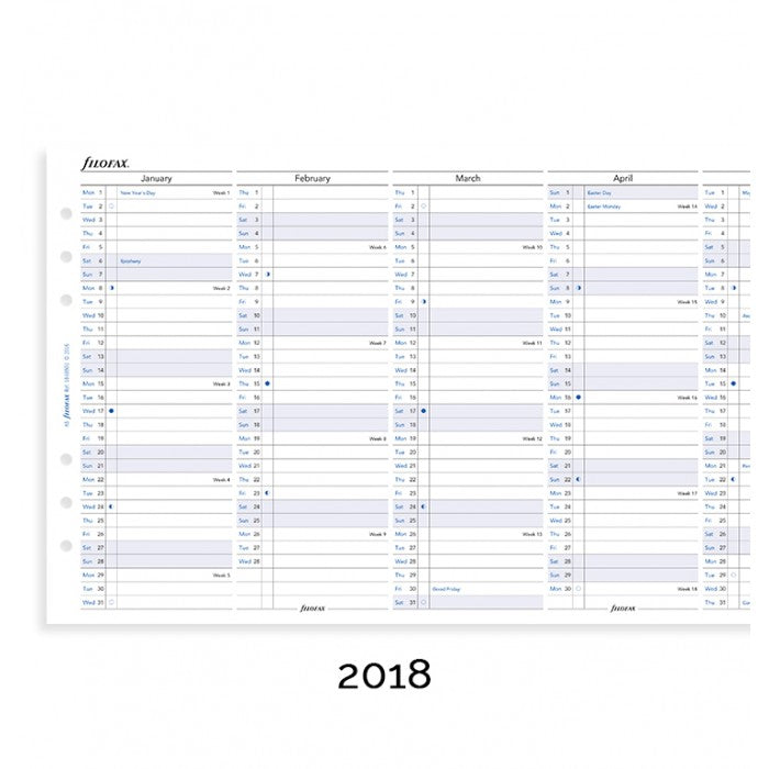 Filofax Full Year Vertical Planner English 2018 A5 Size Calendar Refill