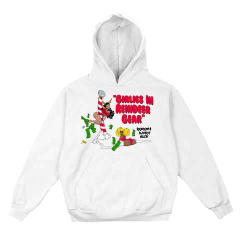 Girlies in Reindeer Gear Christmas Hoodie (White)
