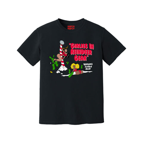 Girlies in Reindeer Gear Christmas Tee (Black)