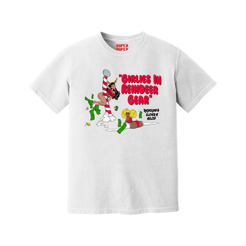 Girlies in Reindeer Gear Christmas Tee (White)