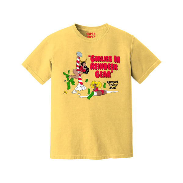 Girlies in Reindeer Gear Christmas Tee (Yellow)