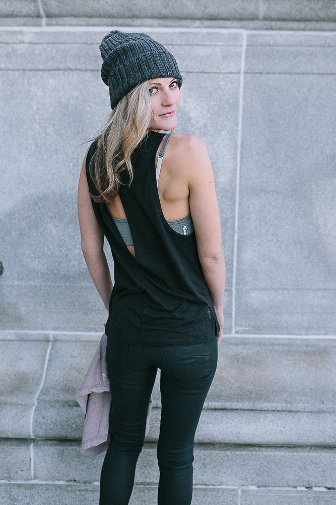 Tonic Active Tribe Member Tamara Waterston Black Tank