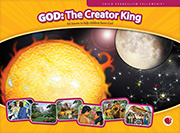 "Full-color flashcard visuals to teach six lessons in the God: The Creator King series. 14"" x 9 5/8"" (33 x 24.4 cm), 5-6 visuals per lesson"