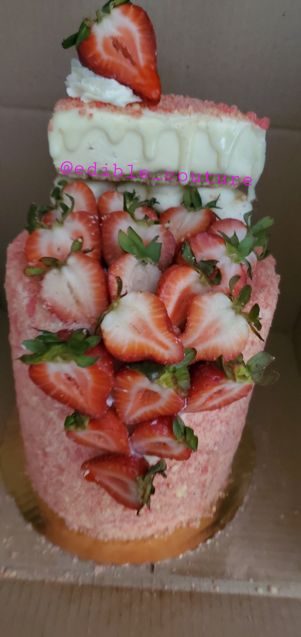 Strawberry Shortcake Cheesecake Cake w/Fresh Strawberry Filling